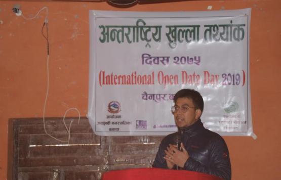 अन्तराष्ट्रि खुला तथ्याङ दिवसको अवसरमा आफ्ना भनाई प्रस्तुत गर्दै Young Innovationका ई. राकेश प्रदान